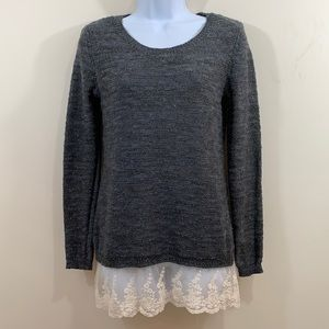 A Buyer Lace & Metallic Silver Embellished Sweater